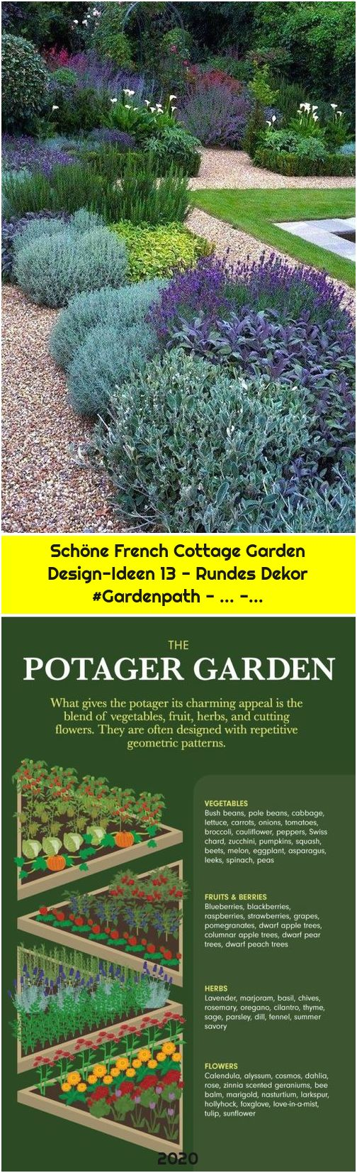 Schöne French Cottage Garden Design-Ideen 13 - Rundes Dekor #Gardenpath - ... -...