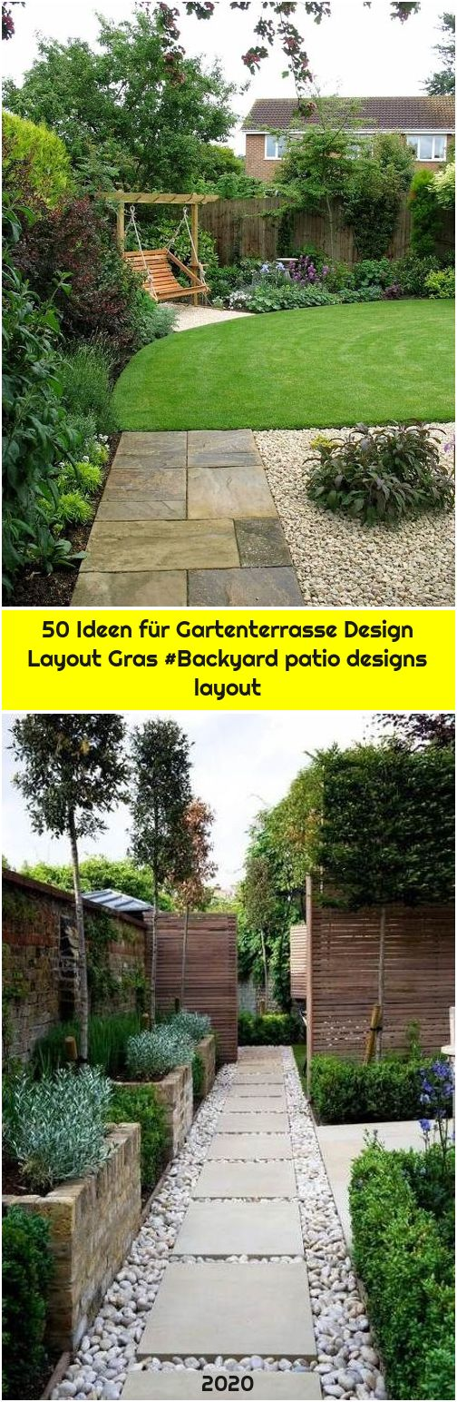 50 Ideen für Gartenterrasse Design Layout Gras #Backyard patio designs layout