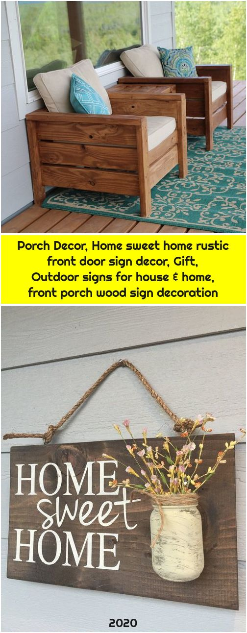 Porch Decor, Home sweet home rustic front door sign decor, Gift, Outdoor signs for house & home, front porch wood sign decoration