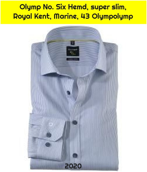 Olymp No. Six Hemd, super slim, Royal Kent, Marine, 43 Olympolymp
