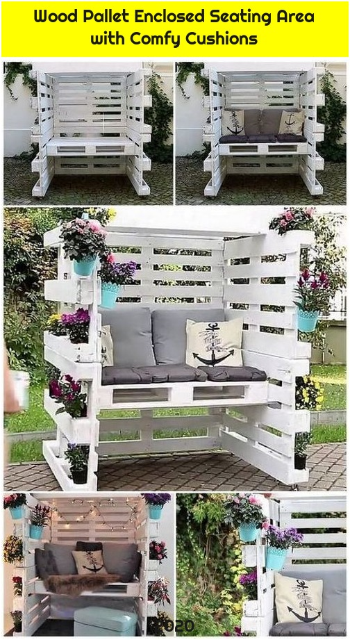 Wood Pallet Enclosed Seating Area with Comfy Cushions