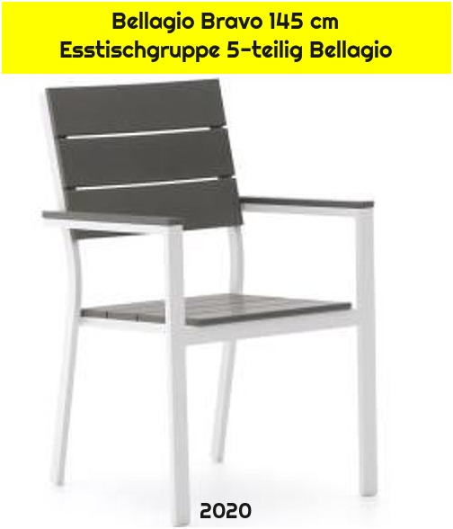 Bellagio Bravo 145 cm Esstischgruppe 5-teilig Bellagio