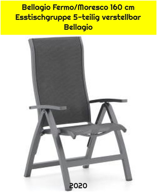 Bellagio Fermo/Moresco 160 cm Esstischgruppe 5-teilig verstellbar Bellagio