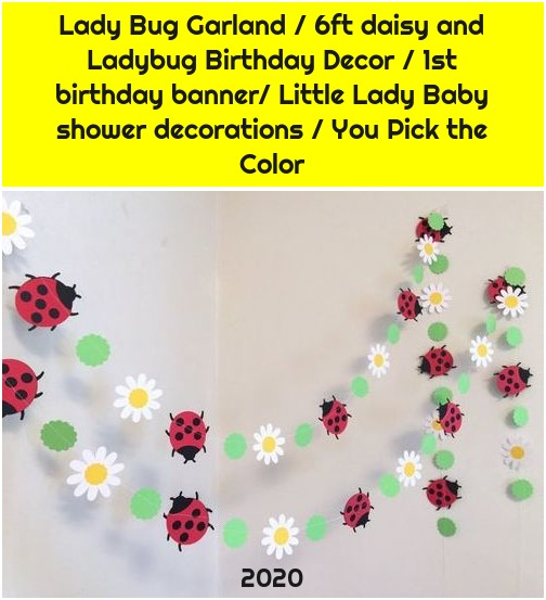 Lady Bug Garland / 6ft daisy and Ladybug Birthday Decor / 1st birthday banner/ Little Lady Baby shower decorations / You Pick the Color