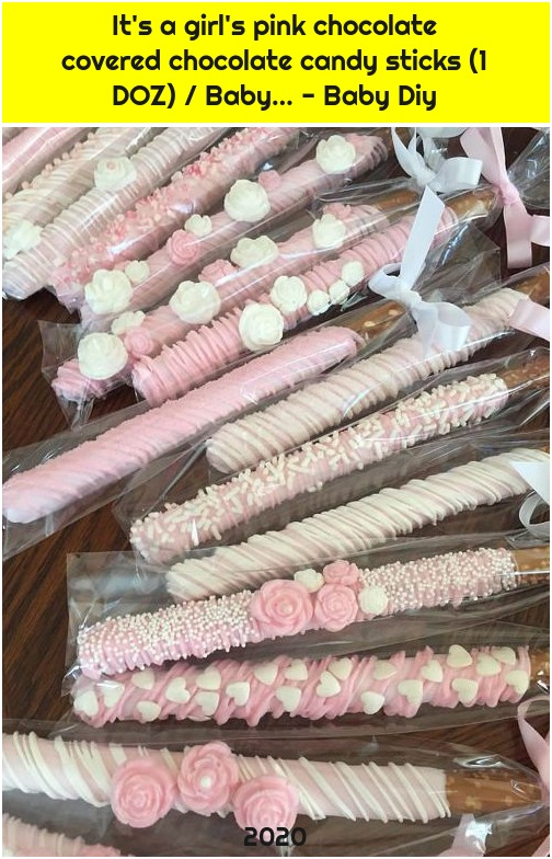 It's a girl's pink chocolate covered chocolate candy sticks (1 DOZ) / Baby… - Baby Diy