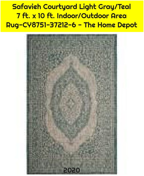 Safavieh Courtyard Light Gray/Teal 7 ft. x 10 ft. Indoor/Outdoor Area Rug-CY8751-37212-6 - The Home Depot