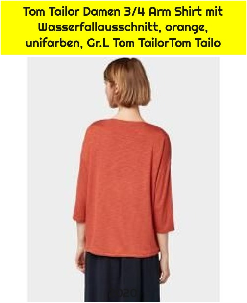 Tom Tailor Damen 3/4 Arm Shirt mit Wasserfallausschnitt, orange, unifarben, Gr.L Tom TailorTom Tailo
