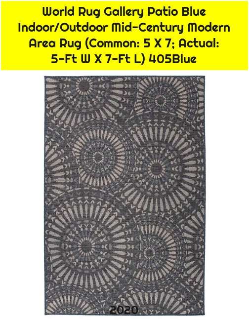 World Rug Gallery Patio Blue Indoor/Outdoor Mid-Century Modern Area Rug (Common: 5 X 7; Actual: 5-Ft W X 7-Ft L) 405Blue