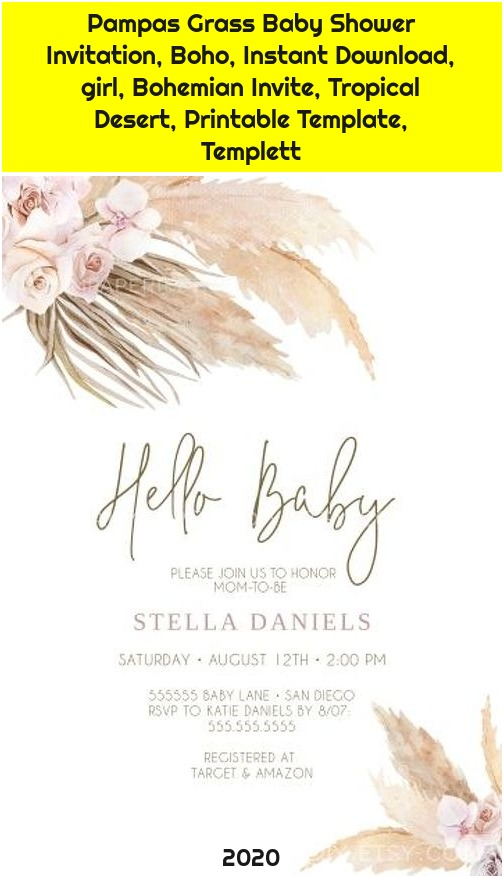 Pampas Grass Baby Shower Invitation, Boho, Instant Download, girl, Bohemian Invite, Tropical Desert, Printable Template, Templett