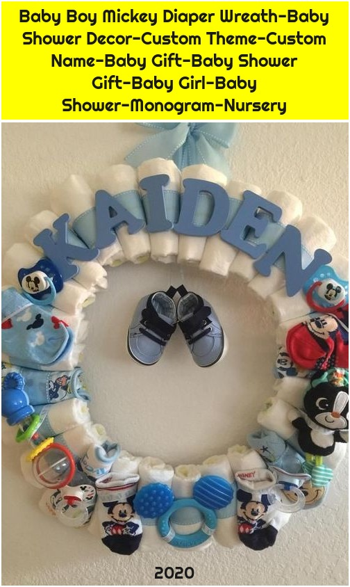 Baby Boy Mickey Diaper Wreath-Baby Shower Decor-Custom Theme-Custom Name-Baby Gift-Baby Shower Gift-Baby Girl-Baby Shower-Monogram-Nursery