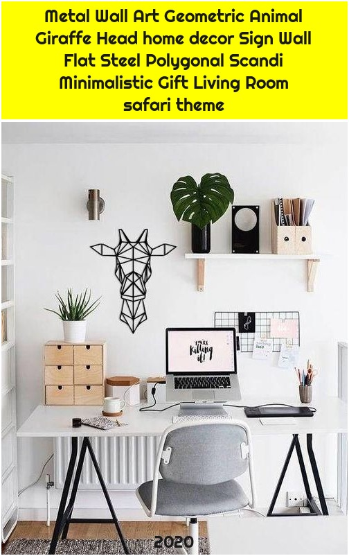 Metal Wall Art Geometric Animal Giraffe Head home decor Sign Wall Flat Steel Polygonal Scandi Minimalistic Gift Living Room safari theme