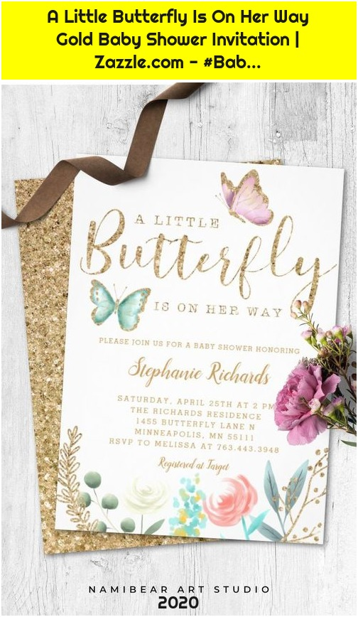 A Little Butterfly Is On Her Way Gold Baby Shower Invitation | Zazzle.com - #Bab...