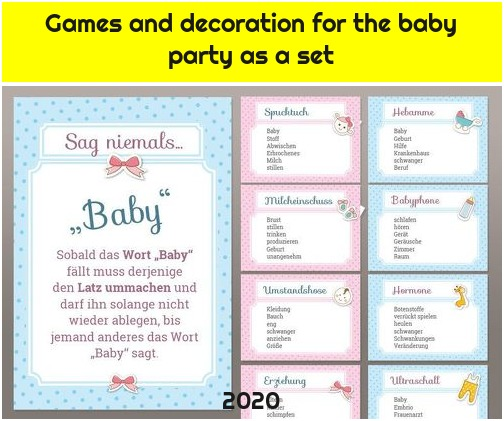 Games and decoration for the baby party as a set