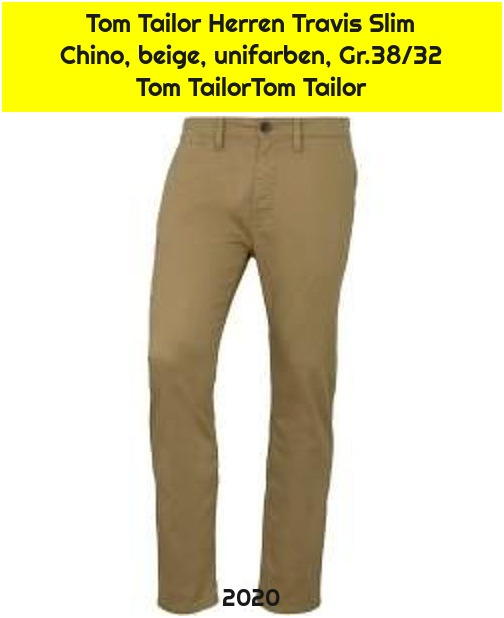 Tom Tailor Herren Travis Slim Chino, beige, unifarben, Gr.38/32 Tom TailorTom Tailor