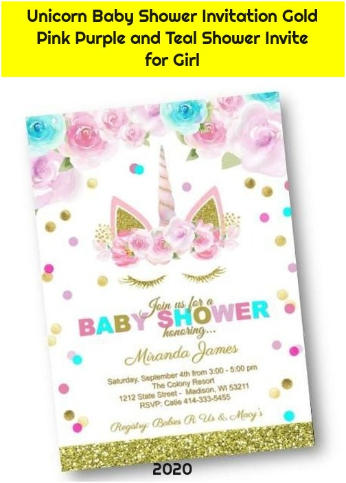 Unicorn Baby Shower Invitation Gold Pink Purple and Teal Shower Invite for Girl
