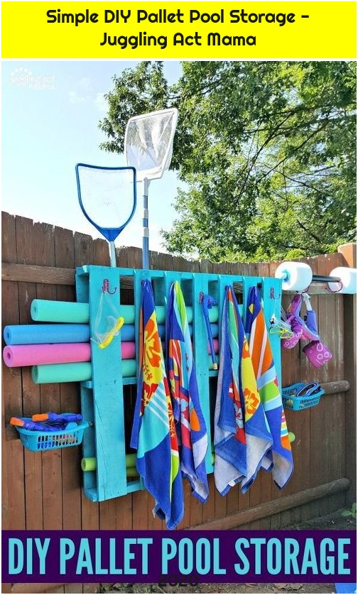 Simple DIY Pallet Pool Storage - Juggling Act Mama