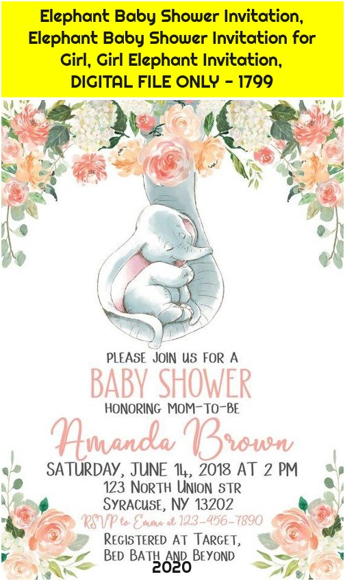 Elephant Baby Shower Invitation, Elephant Baby Shower Invitation for Girl, Girl Elephant Invitation, DIGITAL FILE ONLY - 1799