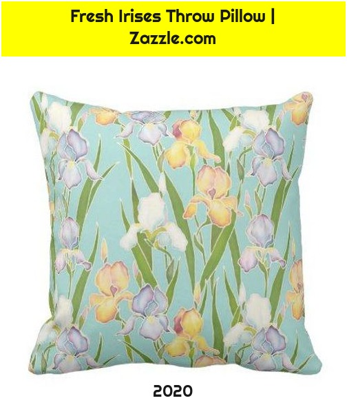 Fresh Irises Throw Pillow | Zazzle.com