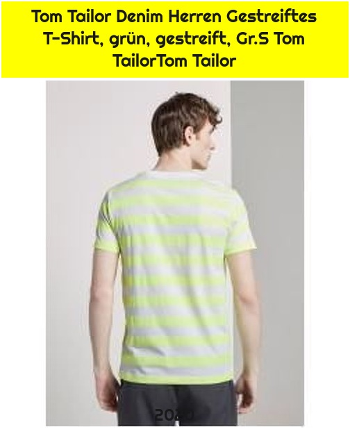 Tom Tailor Denim Herren Gestreiftes T-Shirt, grün, gestreift, Gr.S Tom TailorTom Tailor