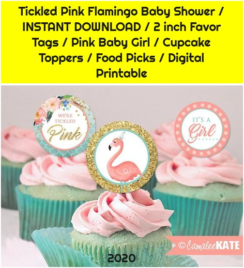 Tickled Pink Flamingo Baby Shower / INSTANT DOWNLOAD / 2 inch Favor Tags / Pink Baby Girl / Cupcake Toppers / Food Picks / Digital Printable