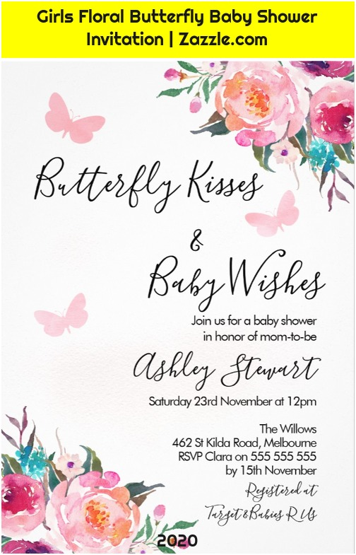 Girls Floral Butterfly Baby Shower Invitation   Zazzle.com