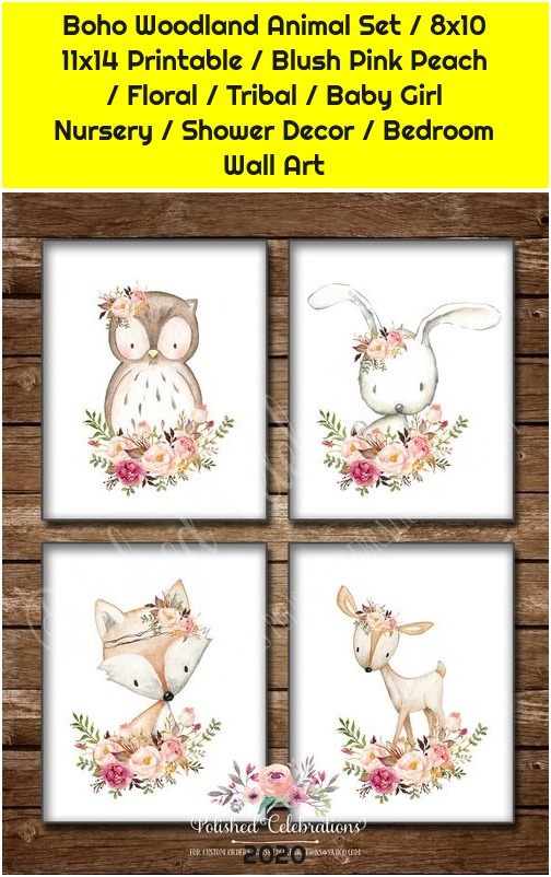 Boho Woodland Animal Set / 8x10 11x14 Printable / Blush Pink Peach / Floral / Tribal / Baby Girl Nursery / Shower Decor / Bedroom Wall Art