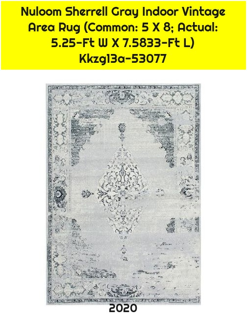 Nuloom Sherrell Gray Indoor Vintage Area Rug (Common: 5 X 8; Actual: 5.25-Ft W X 7.5833-Ft L) Kkzg13a-53077