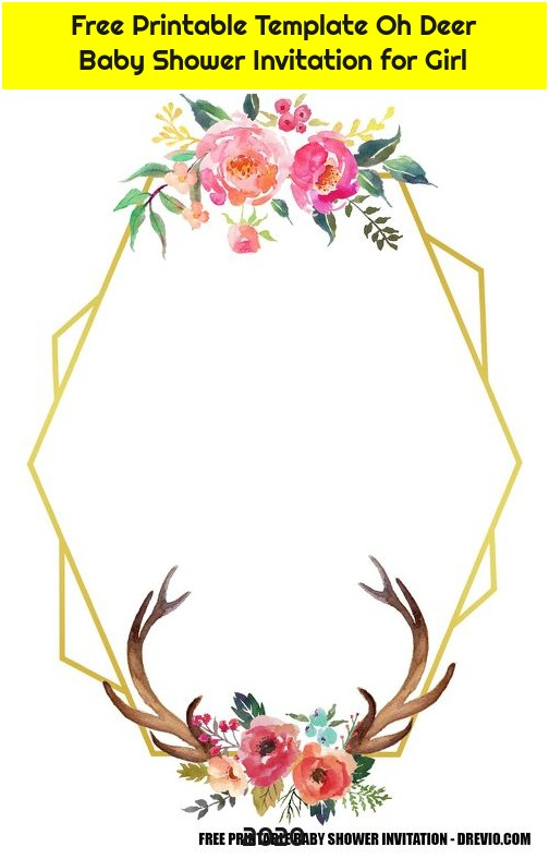 Free Printable Template Oh Deer Baby Shower Invitation for Girl