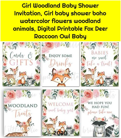 Girl Woodland Baby Shower Invitation, Girl baby shower boho watercolor flowers woodland animals, Digital Printable Fox Deer Raccoon Owl Baby