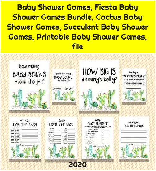 Baby Shower Games, Fiesta Baby Shower Games Bundle, Cactus Baby Shower Games, Succulent Baby Shower Games, Printable Baby Shower Games, file