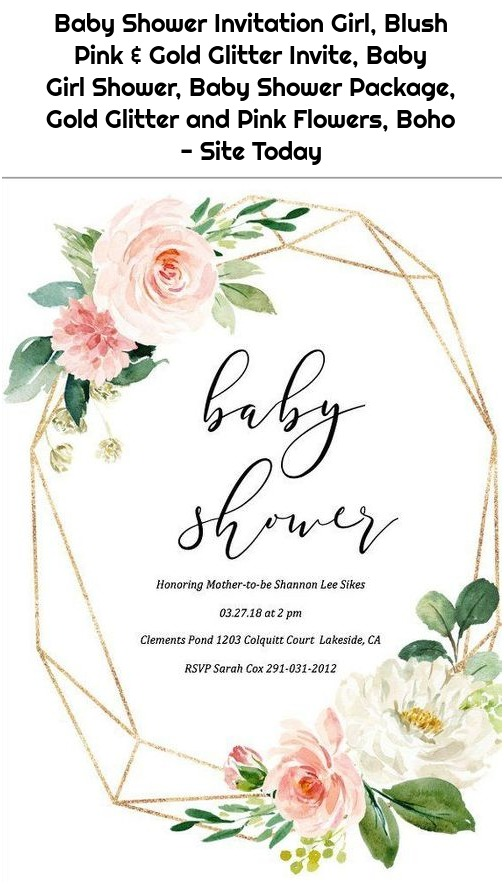 Baby Shower Invitation Girl, Blush Pink & Gold Glitter Invite, Baby Girl Shower, Baby Shower Package, Gold Glitter and Pink Flowers, Boho - Site Today