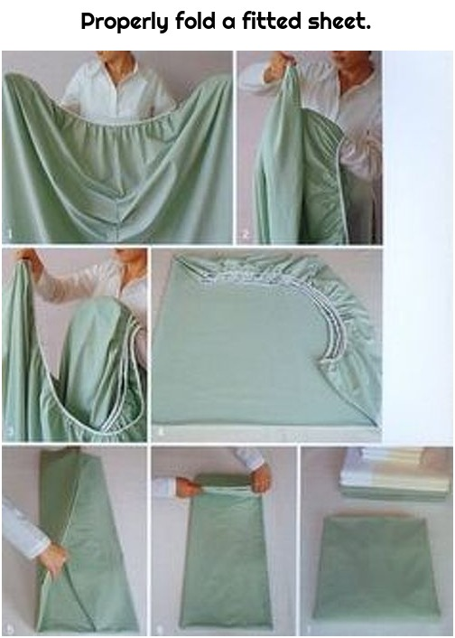 Properly fold a fitted sheet.
