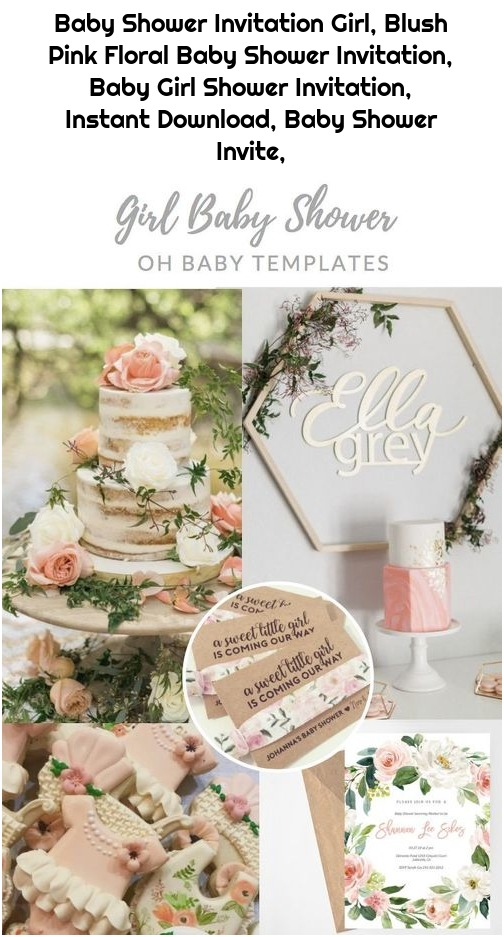 Baby Shower Invitation Girl, Blush Pink Floral Baby Shower Invitation, Baby Girl Shower Invitation, Instant Download, Baby Shower Invite,