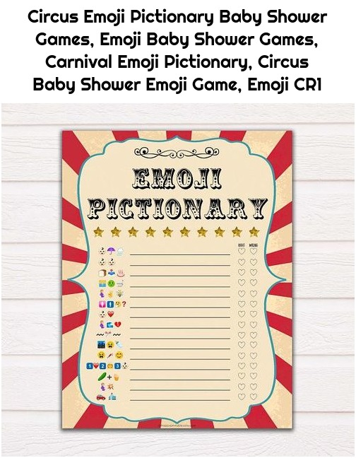 Circus Emoji Pictionary Baby Shower Games, Emoji Baby Shower Games, Carnival Emoji Pictionary, Circus Baby Shower Emoji Game, Emoji CR1