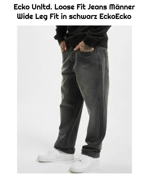Ecko Unltd. Loose Fit Jeans Männer Wide Leg Fit in schwarz EckoEcko