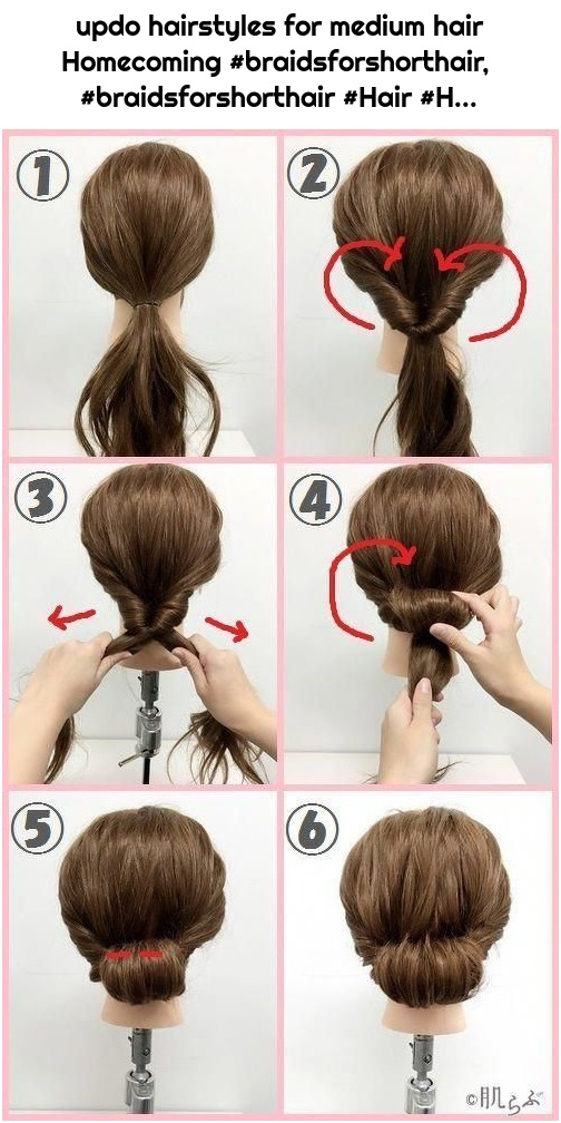 updo hairstyles for medium hair Homecoming #braidsforshorthair, #braidsforshorthair #Hair #H...
