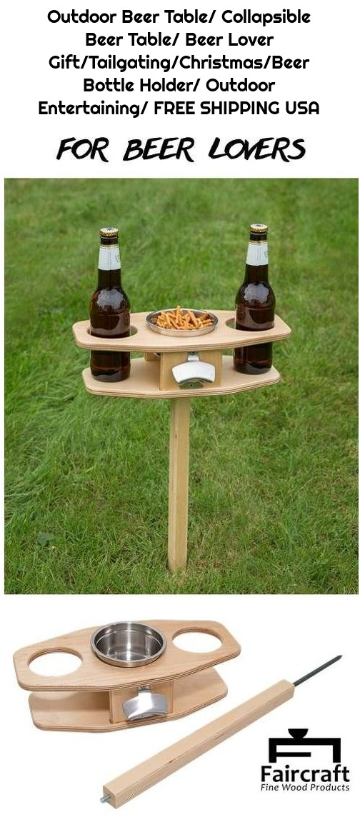 Outdoor Beer Table/ Collapsible Beer Table/ Beer Lover Gift/Tailgating/Christmas/Beer Bottle Holder/ Outdoor Entertaining/ FREE SHIPPING USA
