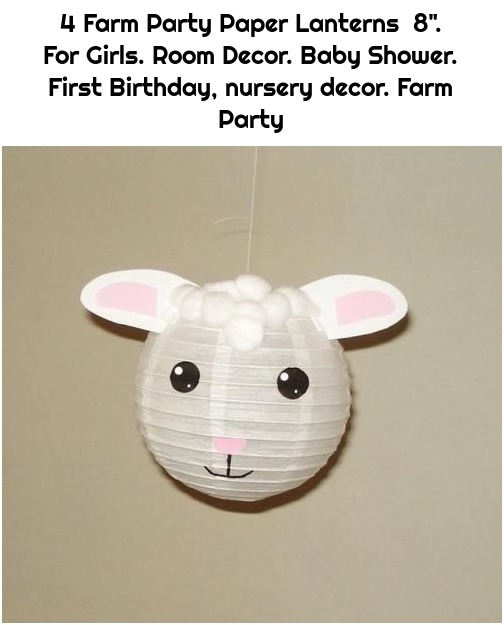 "4 Farm Party Paper Lanterns 8"". For Girls. Room Decor. Baby Shower. First Birthday, nursery decor. Farm Party"