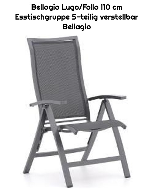Bellagio Lugo/Follo 110 cm Esstischgruppe 5-teilig verstellbar Bellagio