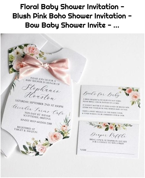 Floral Baby Shower Invitation - Blush Pink Boho Shower Invitation - Bow Baby Shower Invite - ...