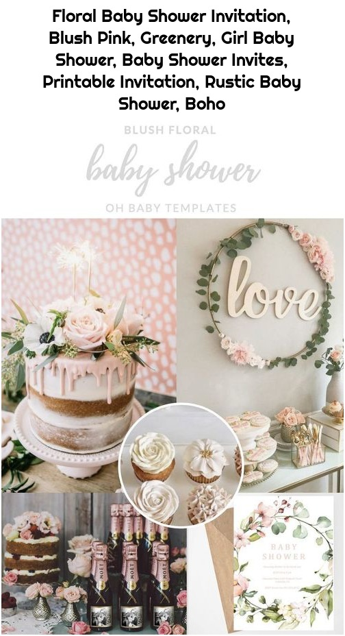 Floral Baby Shower Invitation, Blush Pink, Greenery, Girl Baby Shower, Baby Shower Invites, Printable Invitation, Rustic Baby Shower, Boho