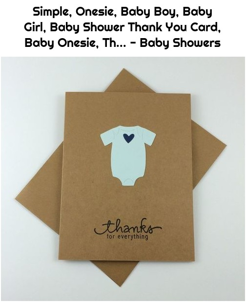 Simple, Onesie, Baby Boy, Baby Girl, Baby Shower Thank You Card, Baby Onesie, Th... - Baby Showers