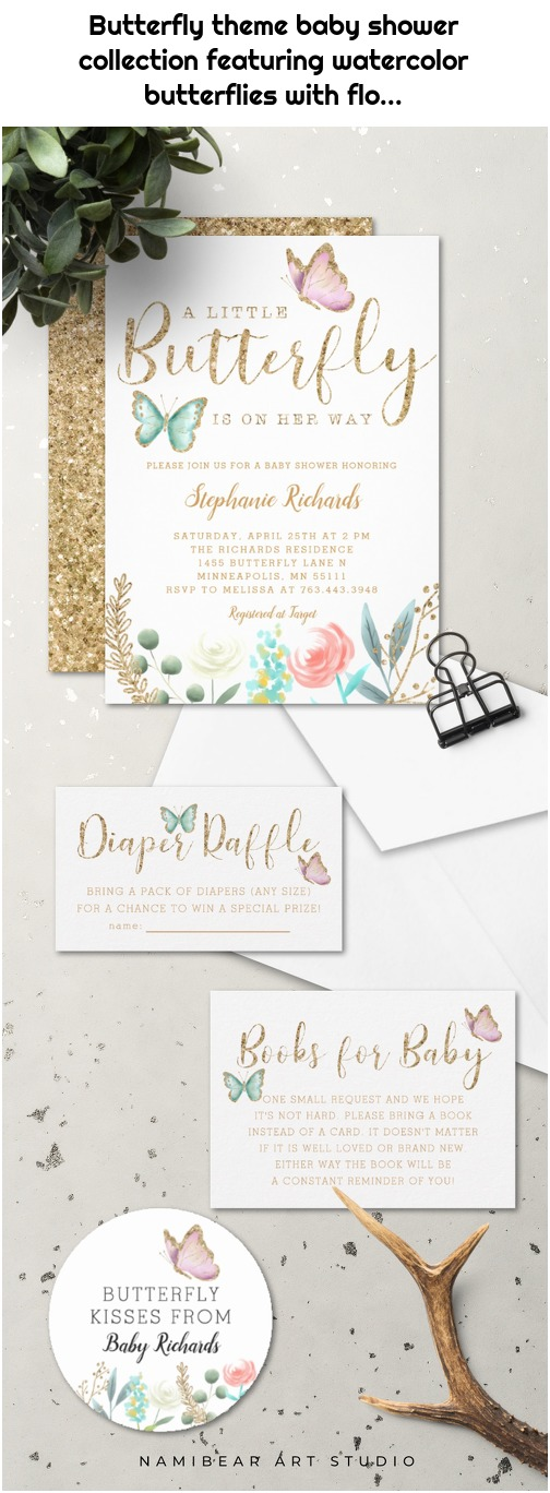 Butterfly theme baby shower collection featuring watercolor butterflies with flo...