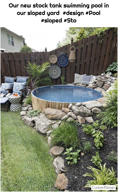 Our new stock tank swimming pool in our sloped yard #design #Pool #sloped #Sto